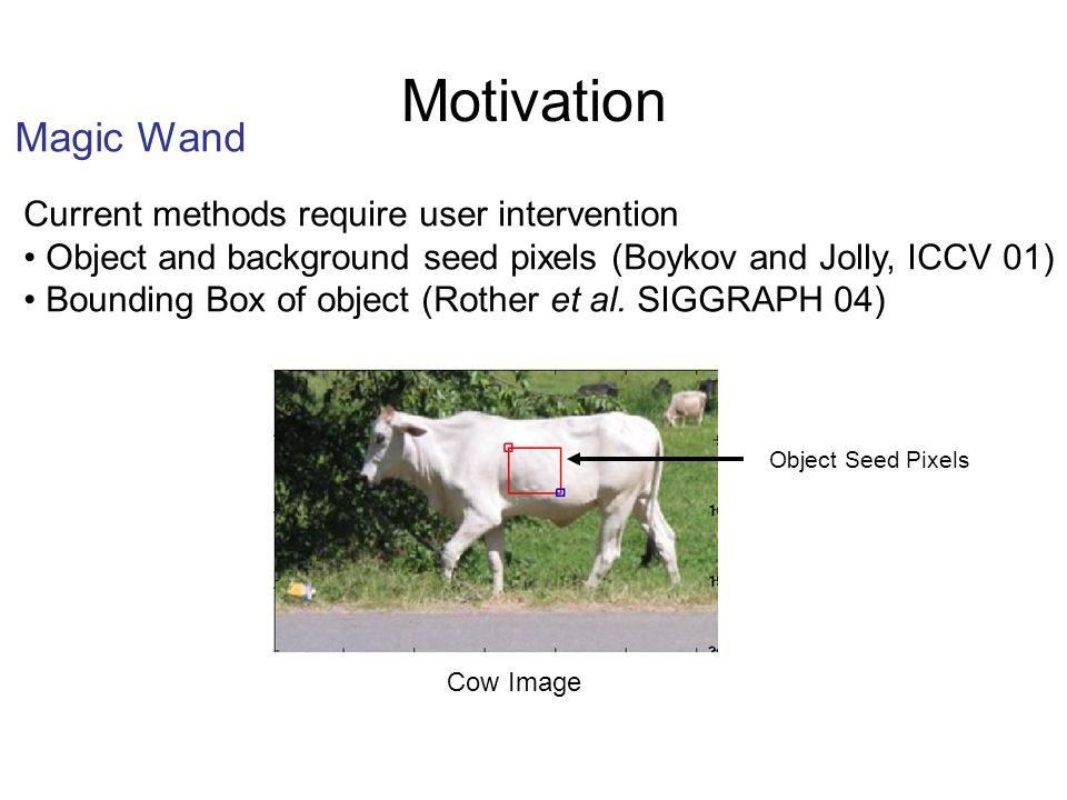 Motivation Magic Wand Current methods require user intervention Object and background seed pixels (Boykov and Jolly, ICCV 01) Bounding Box of object (Rother et al.