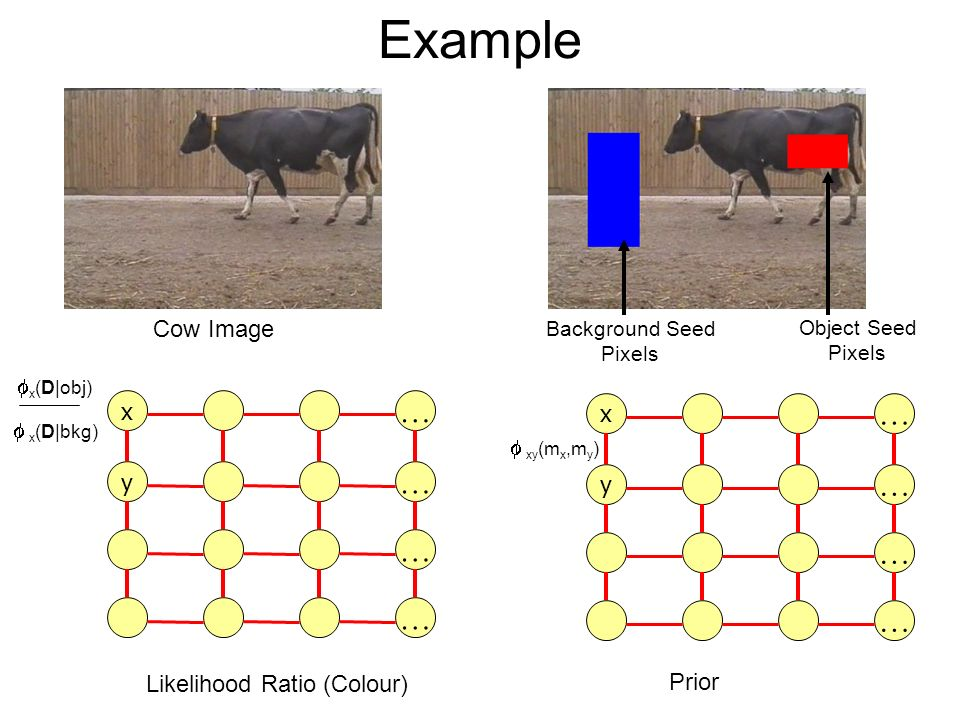 Example Cow Image Object Seed Pixels Background Seed Pixels Prior x … y … … … x … y … … … x (D|obj) x (D|bkg) xy (m x,m y ) Likelihood Ratio (Colour)