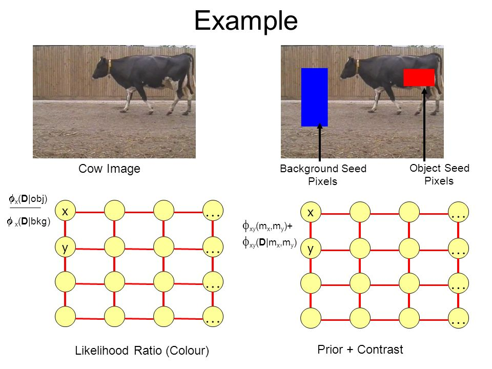 Example Cow Image Object Seed Pixels Background Seed Pixels Prior + Contrast x … y … … … x … y … … … Likelihood Ratio (Colour) x (D|obj) x (D|bkg) xy (m x,m y )+ xy (D|m x,m y )