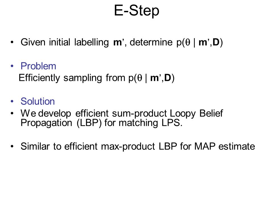 E-Step Given initial labelling m, determine p( | m,D) Problem Efficiently sampling from p( | m,D) Solution We develop efficient sum-product Loopy Belief Propagation (LBP) for matching LPS.