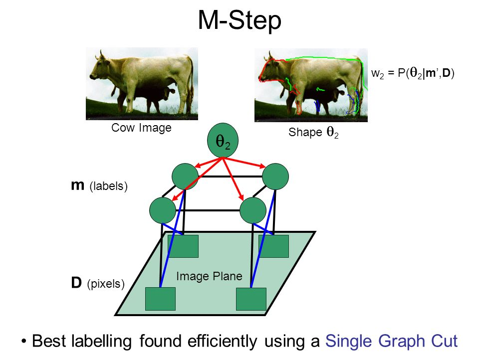M-Step Cow Image 2 Image Plane D (pixels) m (labels) Best labelling found efficiently using a Single Graph Cut Shape 2 w 2 = P( 2 |m,D)
