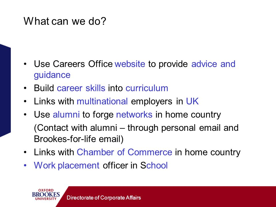 Directorate of Corporate Affairs What can we do.