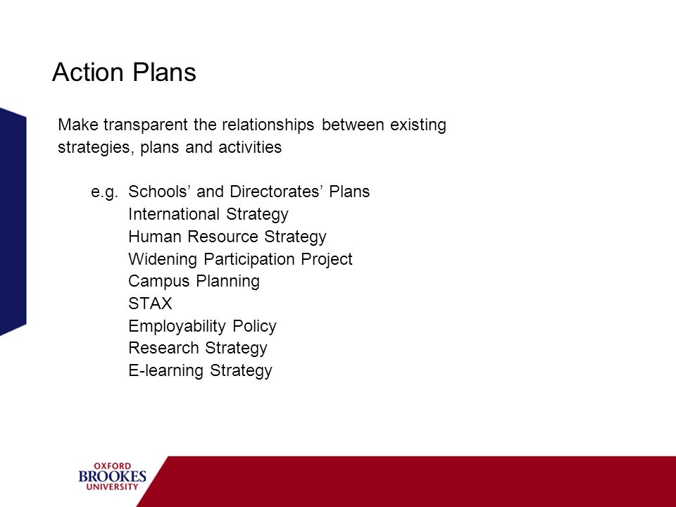 Action Plans Make transparent the relationships between existing strategies, plans and activities e.g.
