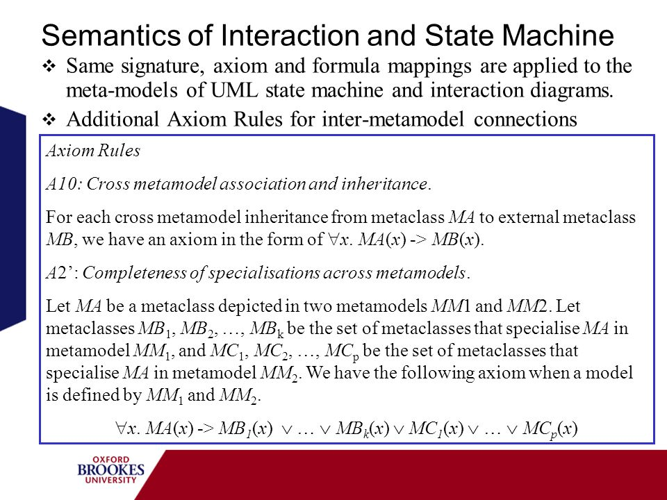Semantics of Interaction and State Machine Same signature, axiom and formula mappings are applied to the meta-models of UML state machine and interaction diagrams.