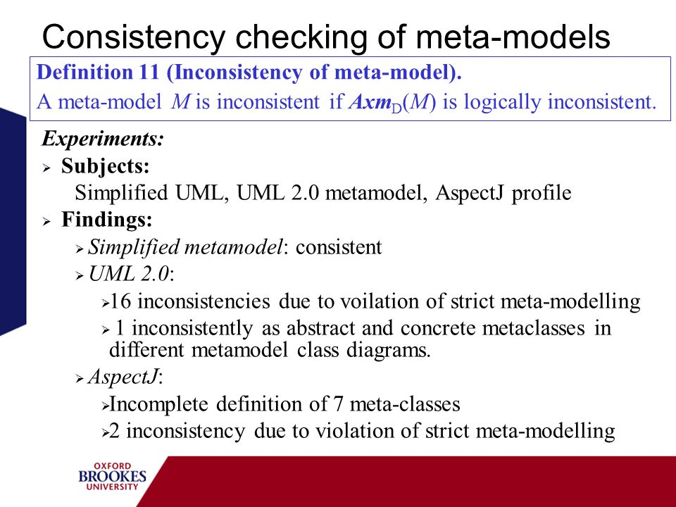 Consistency checking of meta-models Definition 11 (Inconsistency of meta-model).