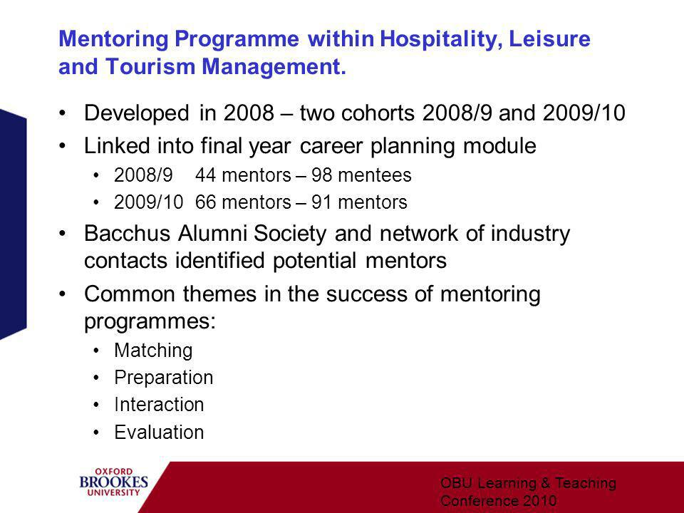Mentoring Programme within Hospitality, Leisure and Tourism Management.
