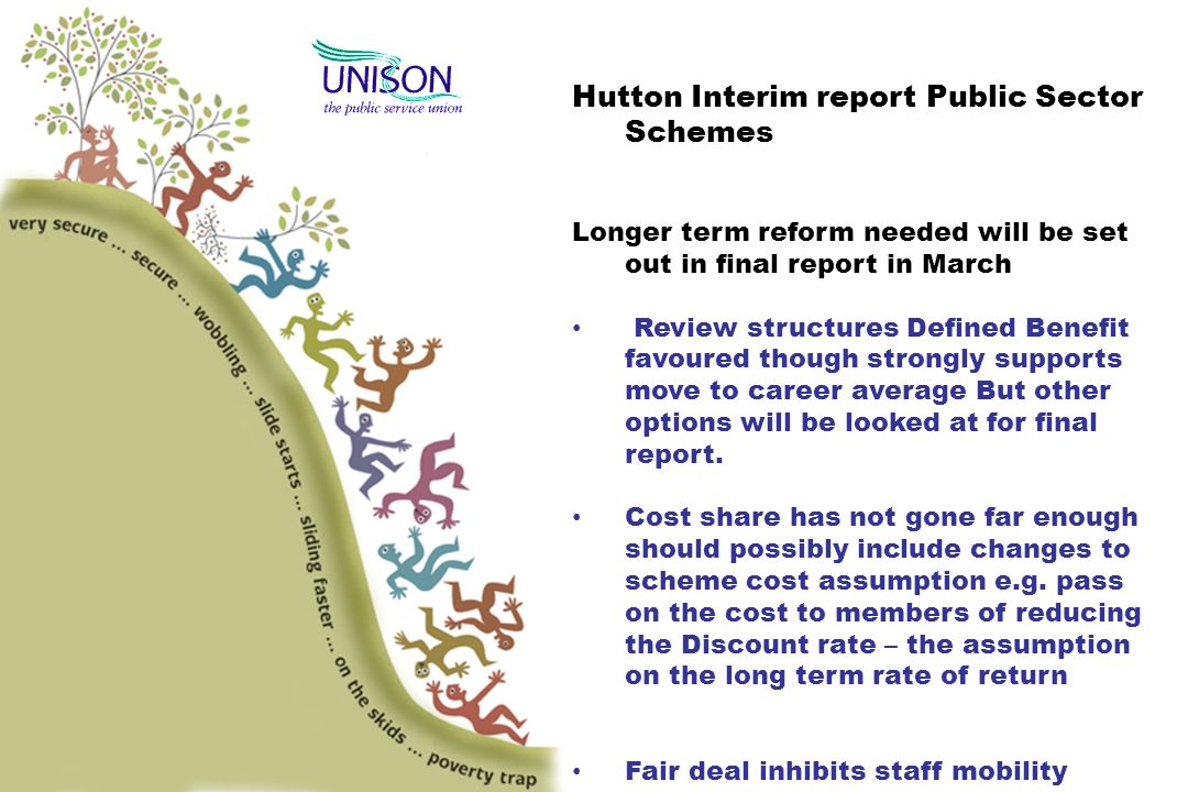 Hutton Interim report Public Sector Schemes Longer term reform needed will be set out in final report in March Review structures Defined Benefit favoured though strongly supports move to career average But other options will be looked at for final report.
