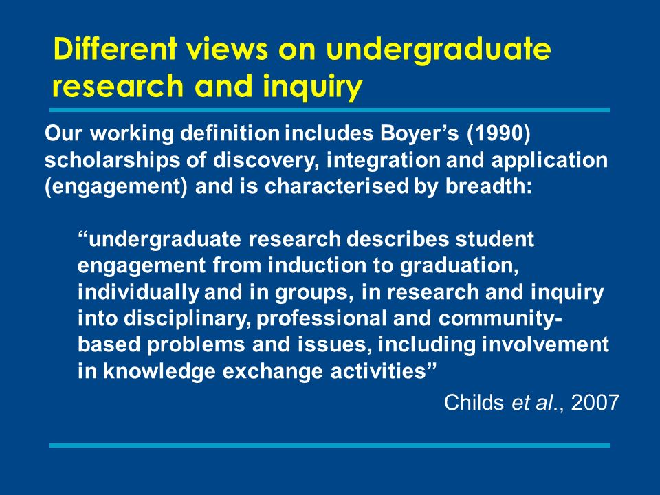 Different views on undergraduate research and inquiry Our working definition includes Boyers (1990) scholarships of discovery, integration and application (engagement) and is characterised by breadth: undergraduate research describes student engagement from induction to graduation, individually and in groups, in research and inquiry into disciplinary, professional and community- based problems and issues, including involvement in knowledge exchange activities Childs et al., 2007
