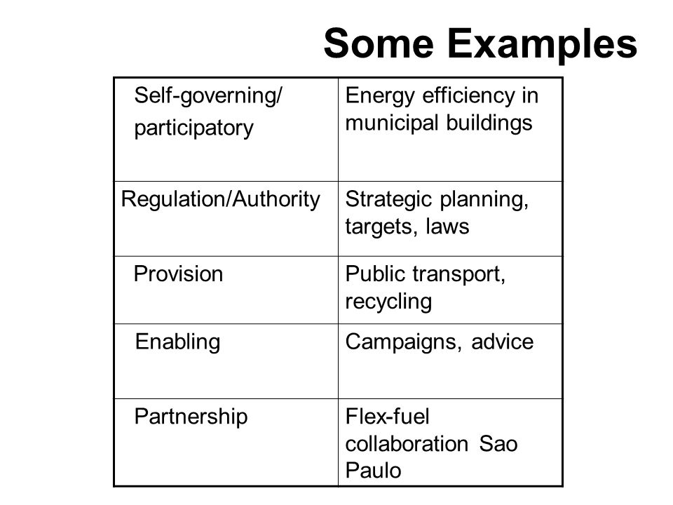 Self-governing/ participatory Energy efficiency in municipal buildings Regulation/AuthorityStrategic planning, targets, laws Provision Public transport, recycling EnablingCampaigns, advice PartnershipFlex-fuel collaboration Sao Paulo Some Examples