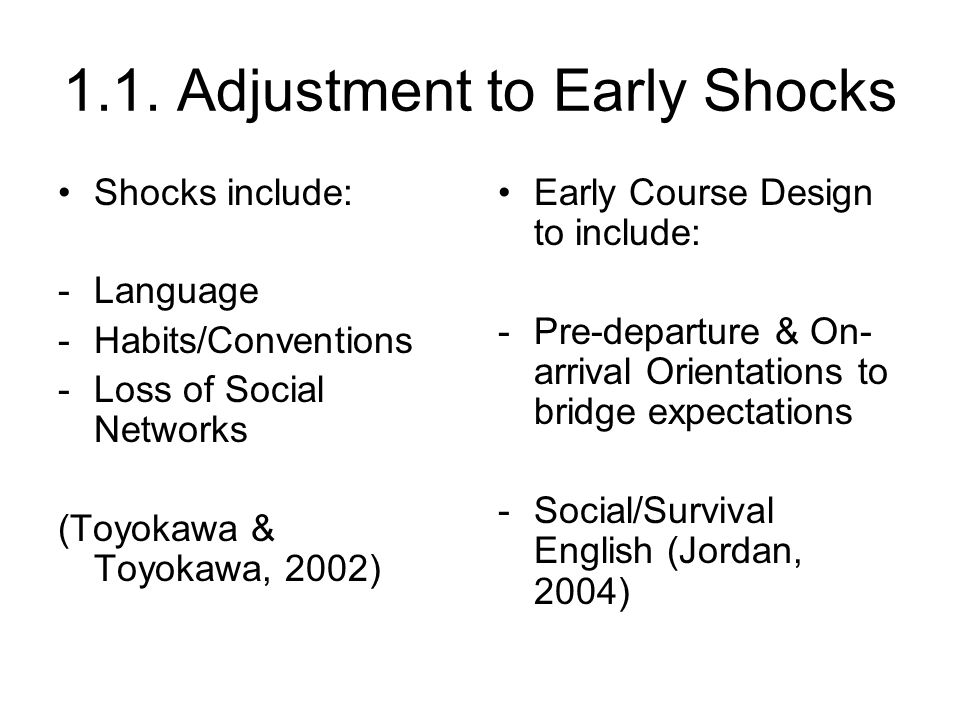 1.1. Adjustment to Early Shocks Shocks include: -Language -Habits/Conventions -Loss of Social Networks (Toyokawa & Toyokawa, 2002) Early Course Design