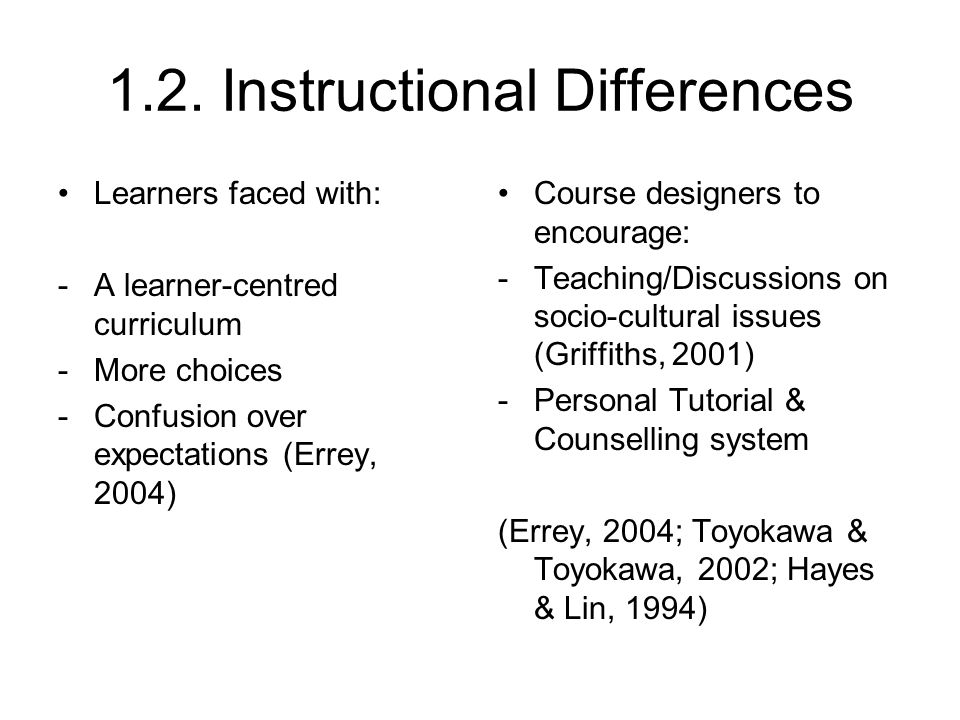 1.2. Instructional Differences Learners faced with: -A learner-centred curriculum -More choices -Confusion over expectations (Errey, 2004) Course desi