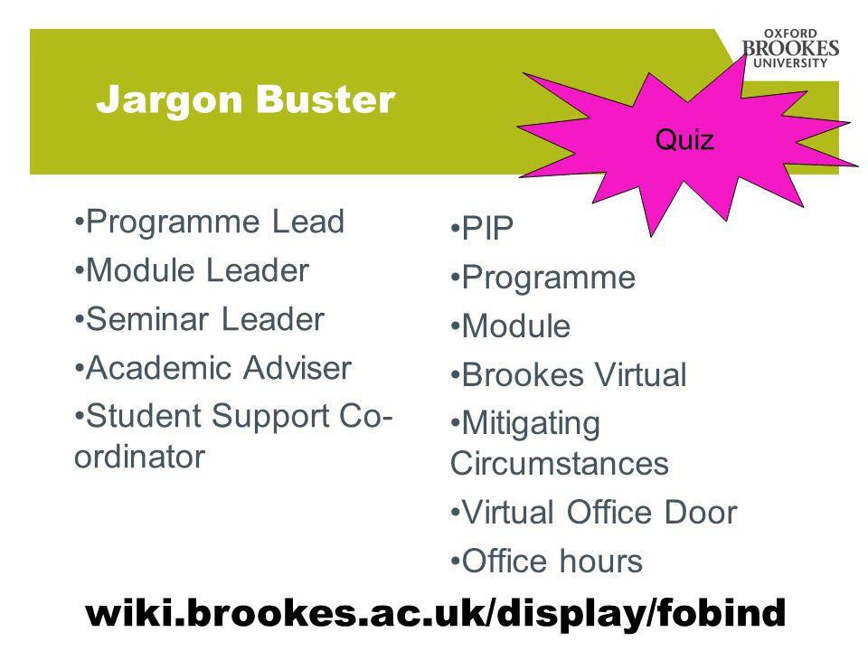 Jargon Buster Programme Lead Module Leader Seminar Leader Academic Adviser Student Support Co- ordinator PIP Programme Module Brookes Virtual Mitigati