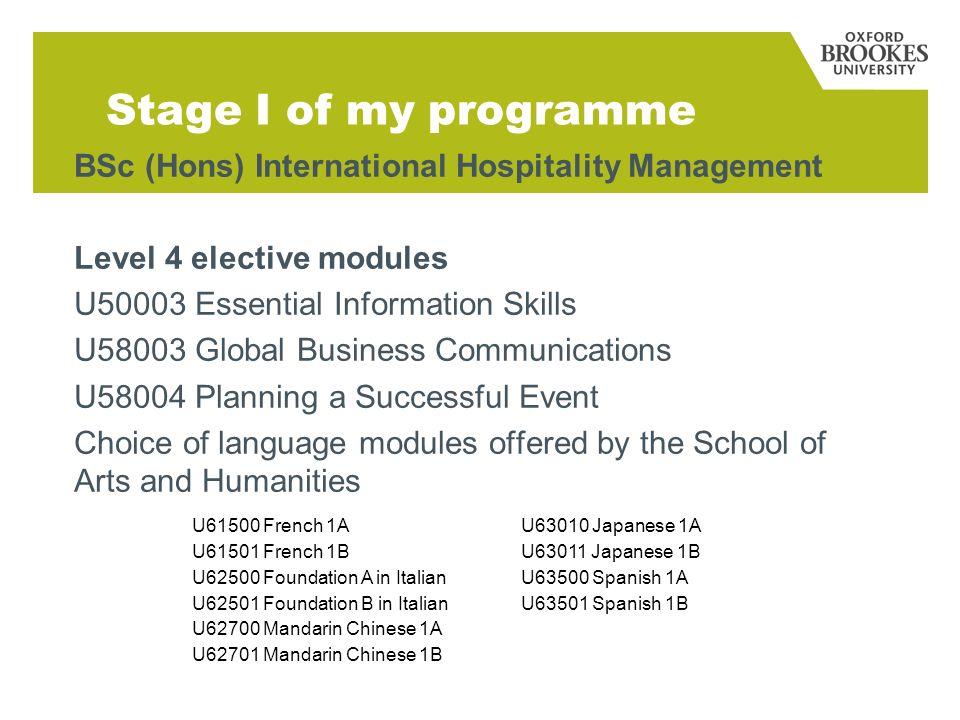 Stage I of my programme BSc (Hons) International Hospitality Management Level 4 elective modules U50003 Essential Information Skills U58003 Global Bus