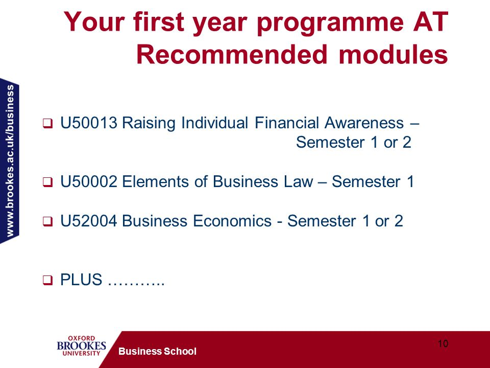 www.brookes.ac.uk/business 10 Business School Your first year programme AT Recommended modules U50013 Raising Individual Financial Awareness – Semester 1 or 2 U50002 Elements of Business Law – Semester 1 U52004 Business Economics - Semester 1 or 2 PLUS ………..