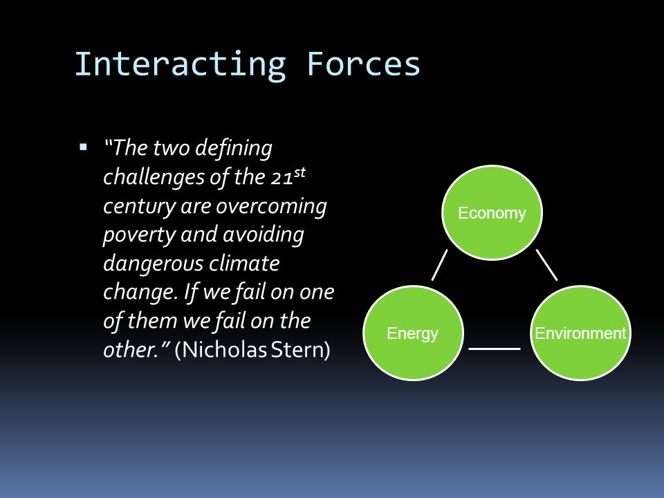 Interacting Forces The two defining challenges of the 21 st century are overcoming poverty and avoiding dangerous climate change.