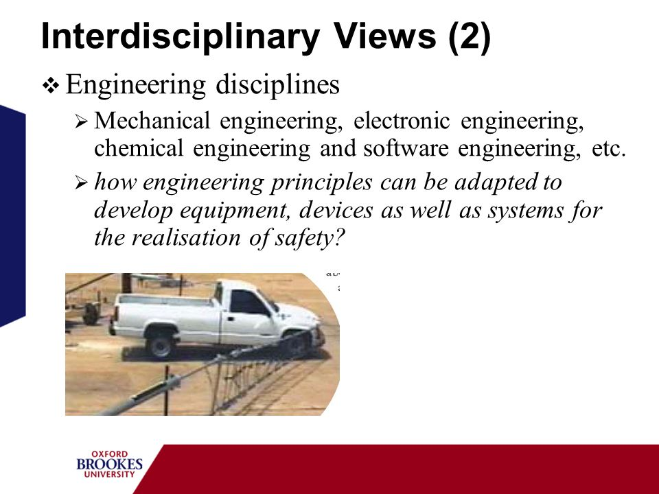 Interdisciplinary Views (2) Engineering disciplines Mechanical engineering, electronic engineering, chemical engineering and software engineering, etc.