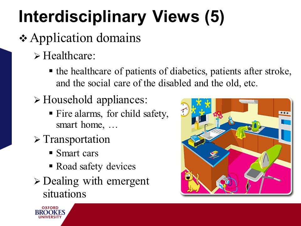Interdisciplinary Views (5) Household appliances: Fire alarms, for child safety, smart home, … Transportation Smart cars Road safety devices Dealing with emergent situations Application domains Healthcare: the healthcare of patients of diabetics, patients after stroke, and the social care of the disabled and the old, etc.