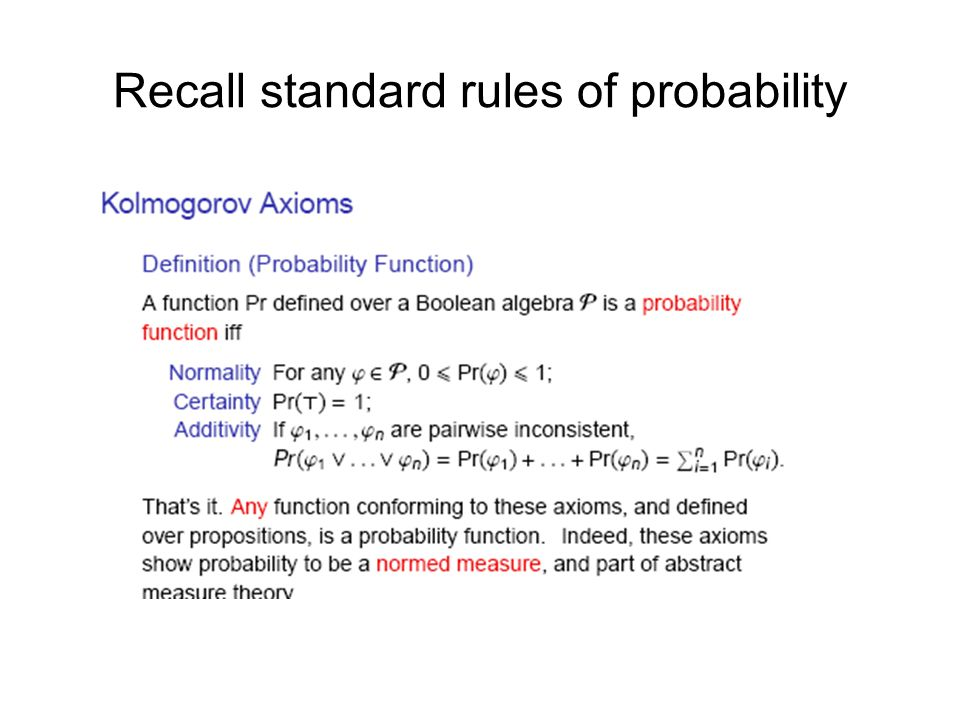 Recall standard rules of probability