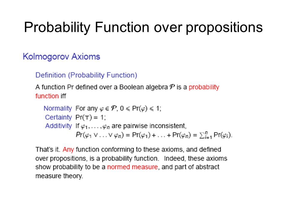 Probability Function over propositions