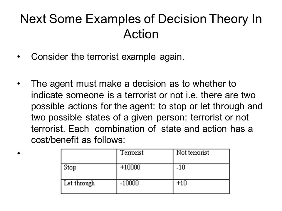 Next Some Examples of Decision Theory In Action Consider the terrorist example again.