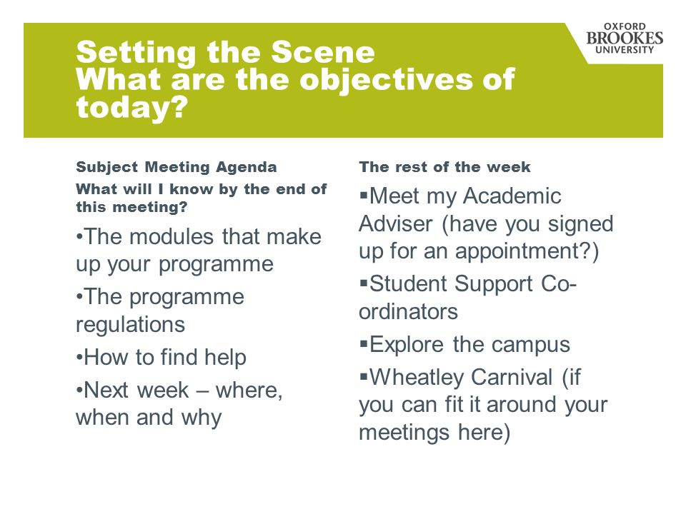 Setting the Scene What are the objectives of today? Subject Meeting Agenda What will I know by the end of this meeting? The modules that make up your