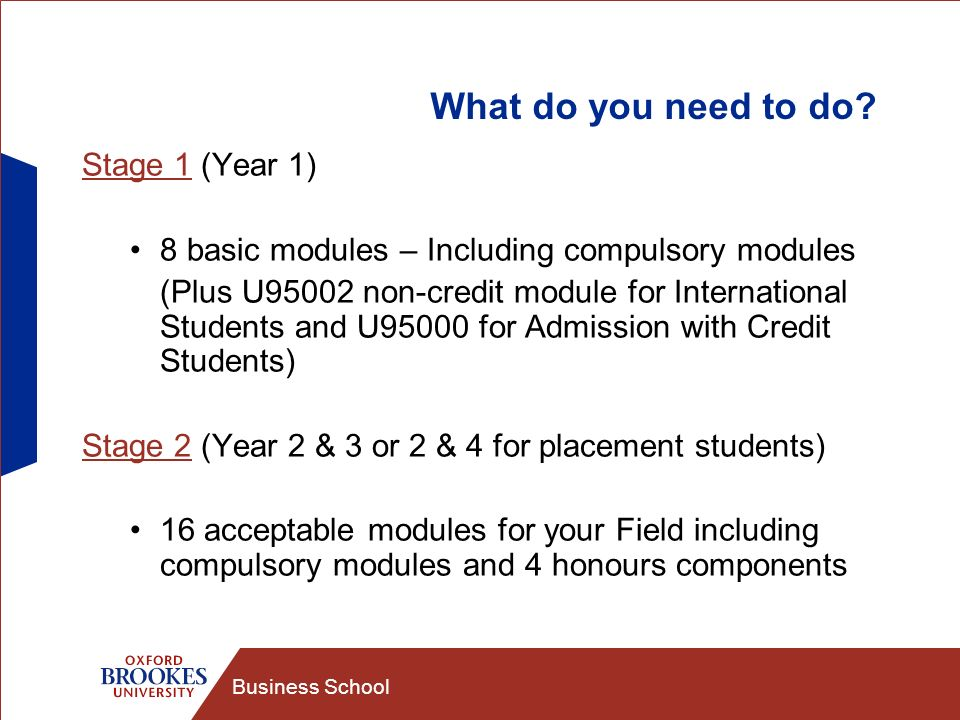 Business School What do you need to do.