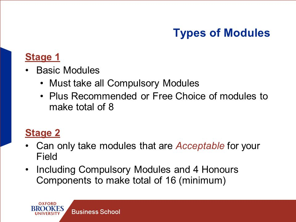 Business School Types of Modules Stage 1 Basic Modules Must take all Compulsory Modules Plus Recommended or Free Choice of modules to make total of 8 Stage 2 Can only take modules that are Acceptable for your Field Including Compulsory Modules and 4 Honours Components to make total of 16 (minimum)
