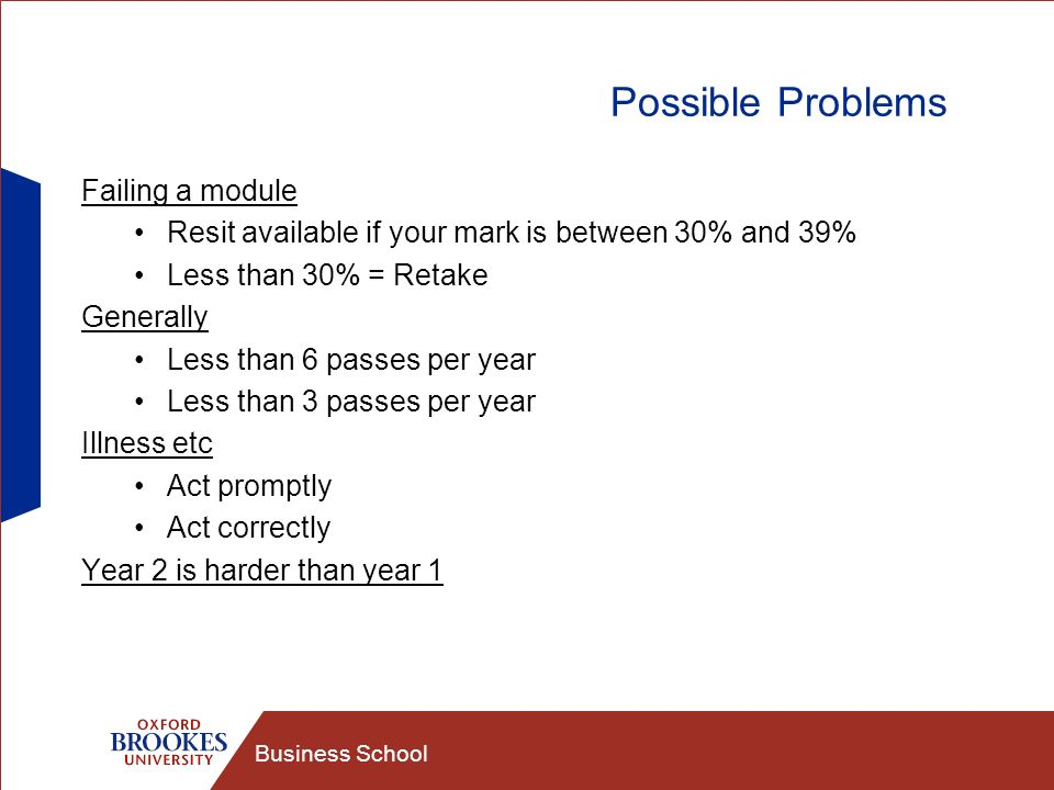 Business School Possible Problems Failing a module Resit available if your mark is between 30% and 39% Less than 30% = Retake Generally Less than 6 passes per year Less than 3 passes per year Illness etc Act promptly Act correctly Year 2 is harder than year 1