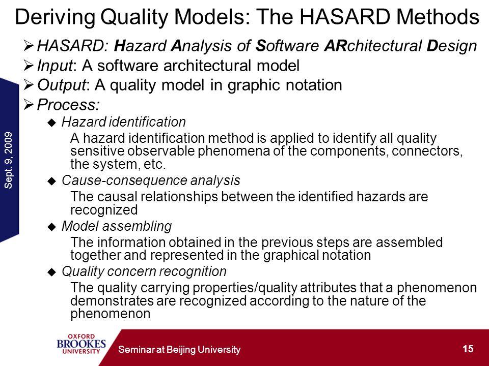 Sept. 9, 2009 15 Seminar at Beijing University Deriving Quality Models: The HASARD Methods HASARD: Hazard Analysis of Software ARchitectural Design In