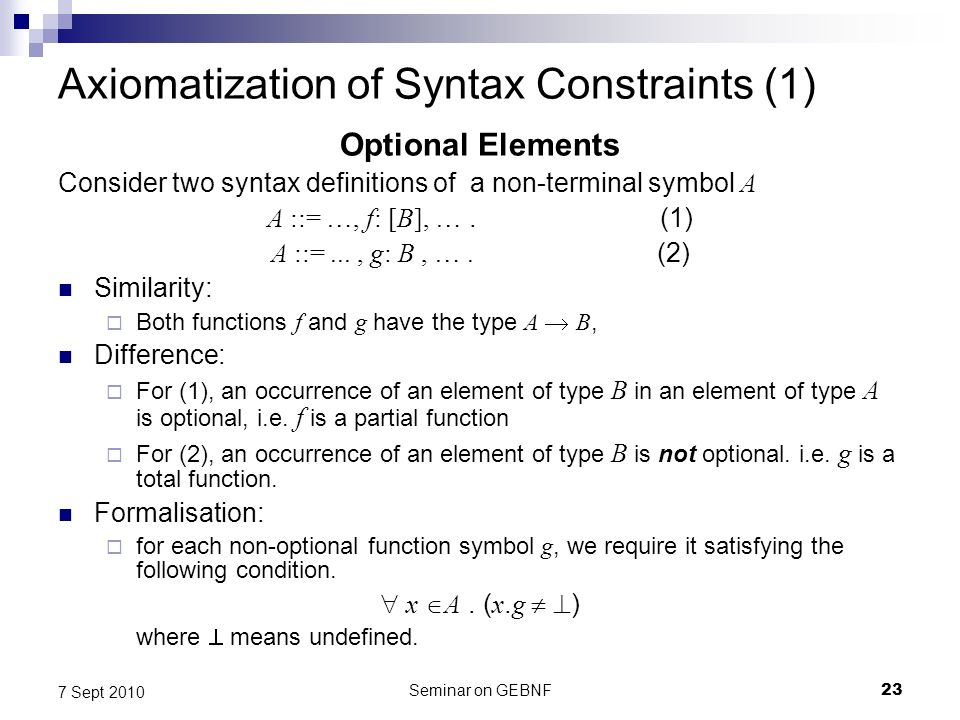 Seminar on GEBNF23 7 Sept 2010 Axiomatization of Syntax Constraints (1) Optional Elements Consider two syntax definitions of a non-terminal symbol A A ::= …, f: [B], ….