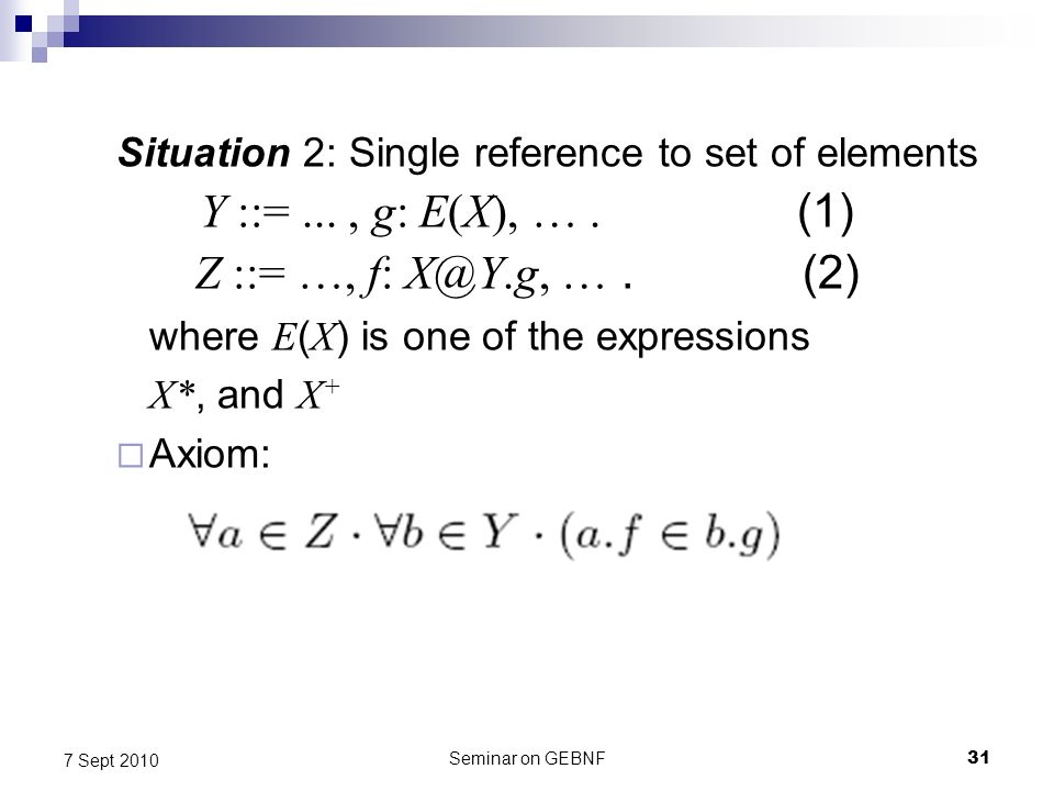 Seminar on GEBNF31 7 Sept 2010 Situation 2: Single reference to set of elements Y ::=..., g: E(X), ….