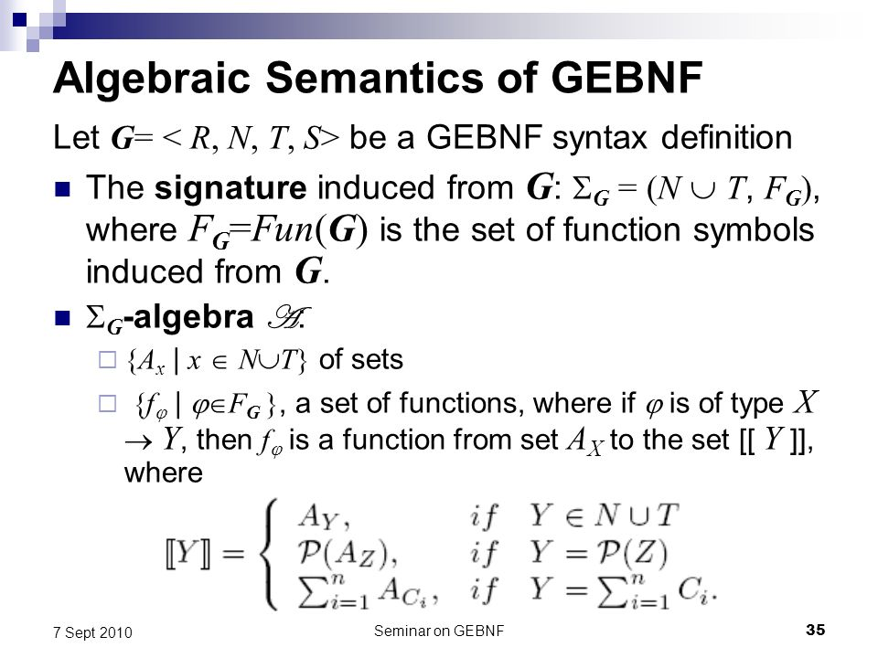 Seminar on GEBNF35 7 Sept 2010 Algebraic Semantics of GEBNF Let G= be a GEBNF syntax definition The signature induced from G : G = (N T, F G ), where F G =Fun(G) is the set of function symbols induced from G.