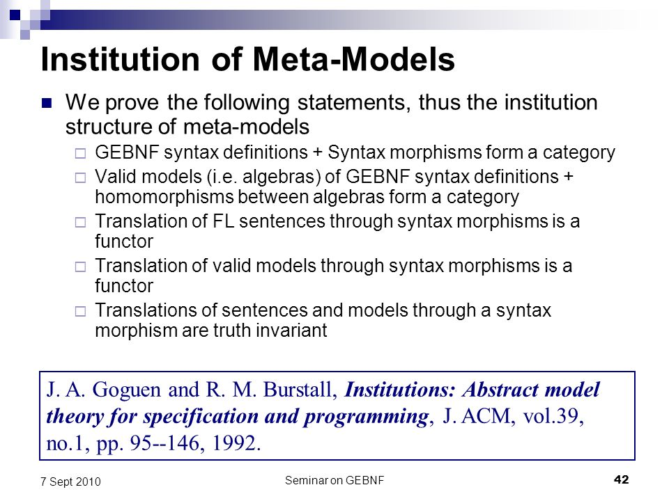 Seminar on GEBNF42 7 Sept 2010 Institution of Meta-Models We prove the following statements, thus the institution structure of meta-models GEBNF syntax definitions + Syntax morphisms form a category Valid models (i.e.
