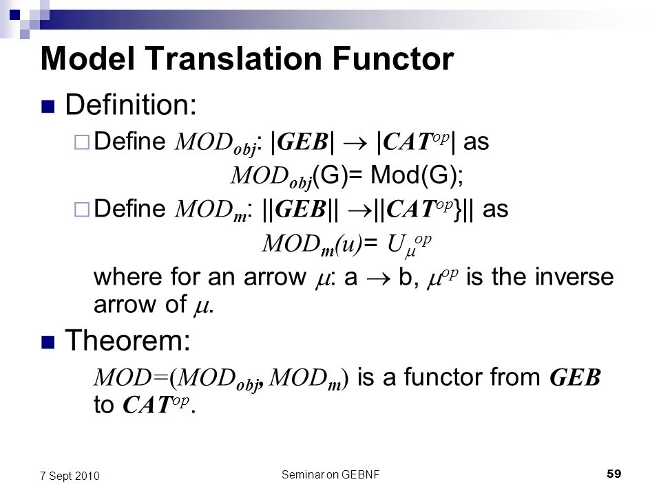 Seminar on GEBNF59 7 Sept 2010 Model Translation Functor Definition: Define MOD obj : | GEB | | CAT op | as MOD obj (G)= Mod(G); Define MOD m : || GEB || || CAT op }|| as MOD m (u) = U op where for an arrow : a b, op is the inverse arrow of.