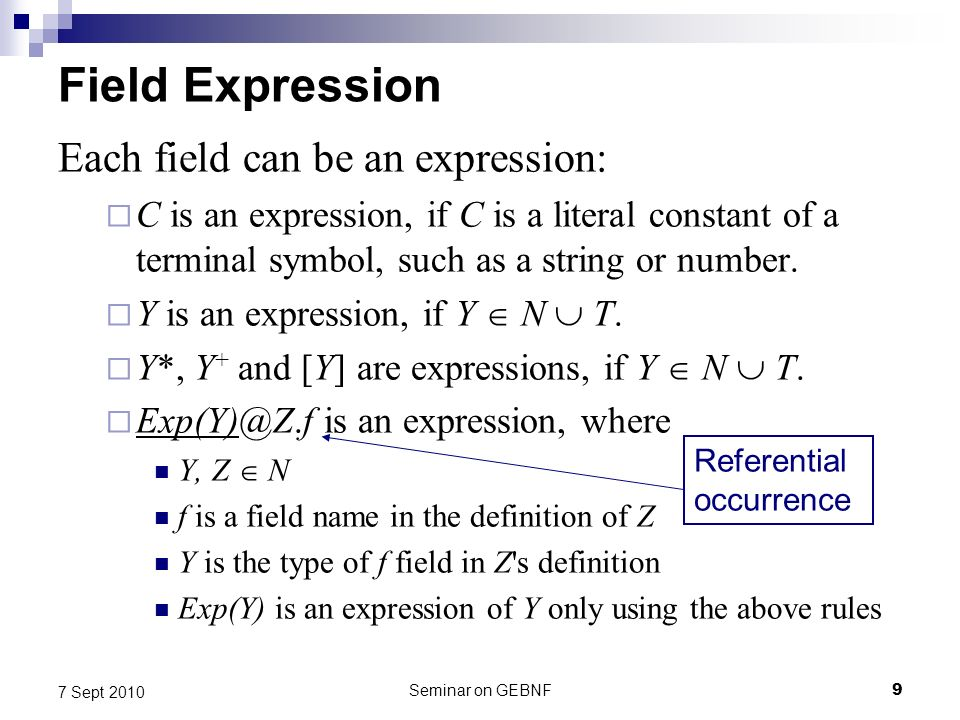 Seminar on GEBNF9 7 Sept 2010 Field Expression Each field can be an expression: C is an expression, if C is a literal constant of a terminal symbol, such as a string or number.