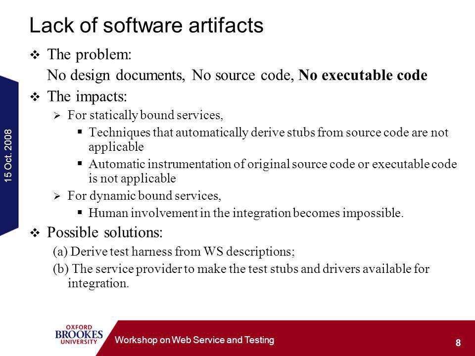 15 Oct. 2008 8 Workshop on Web Service and Testing Lack of software artifacts The problem: No design documents, No source code, No executable code The