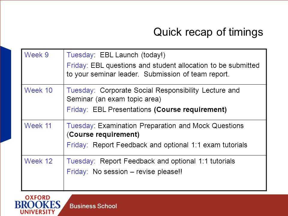 Business School Quick recap of timings Week 9Tuesday: EBL Launch (today!) Friday: EBL questions and student allocation to be submitted to your seminar leader.