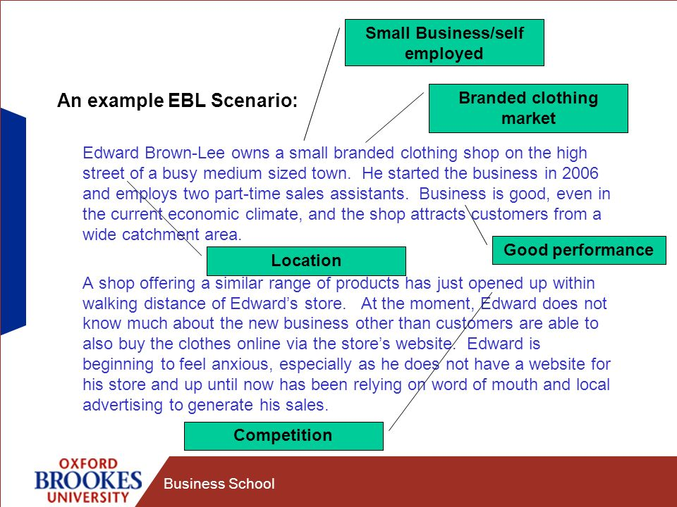 Business School An example EBL Scenario: Edward Brown-Lee owns a small branded clothing shop on the high street of a busy medium sized town.