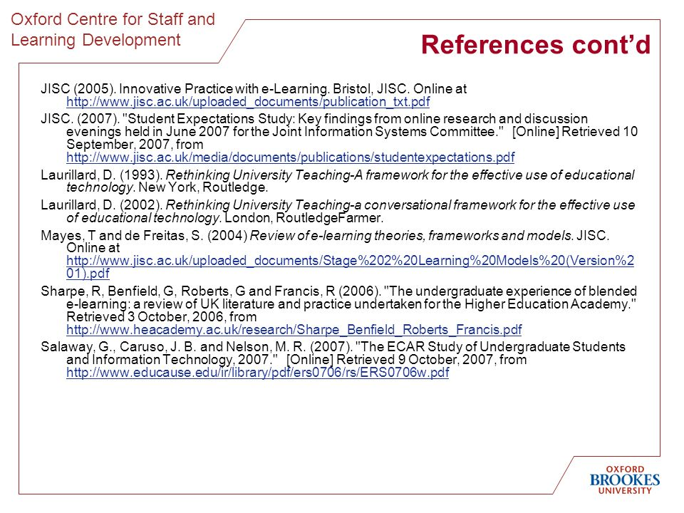 Oxford Centre for Staff and Learning Development References contd JISC (2005).