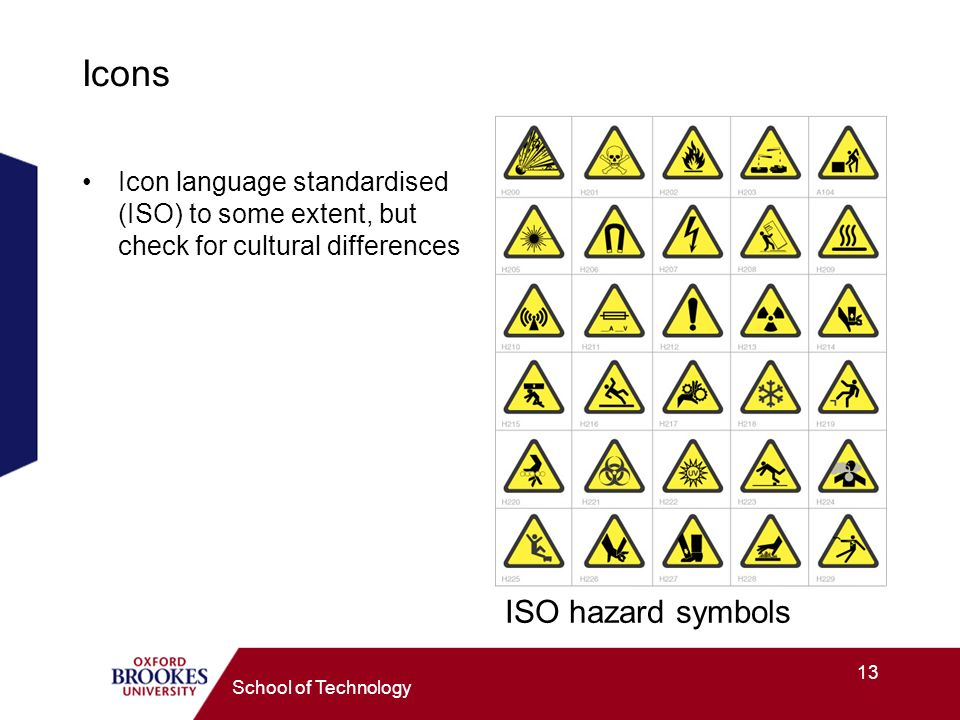 13 School of Technology Icons Icon language standardised (ISO) to some extent, but check for cultural differences ISO hazard symbols