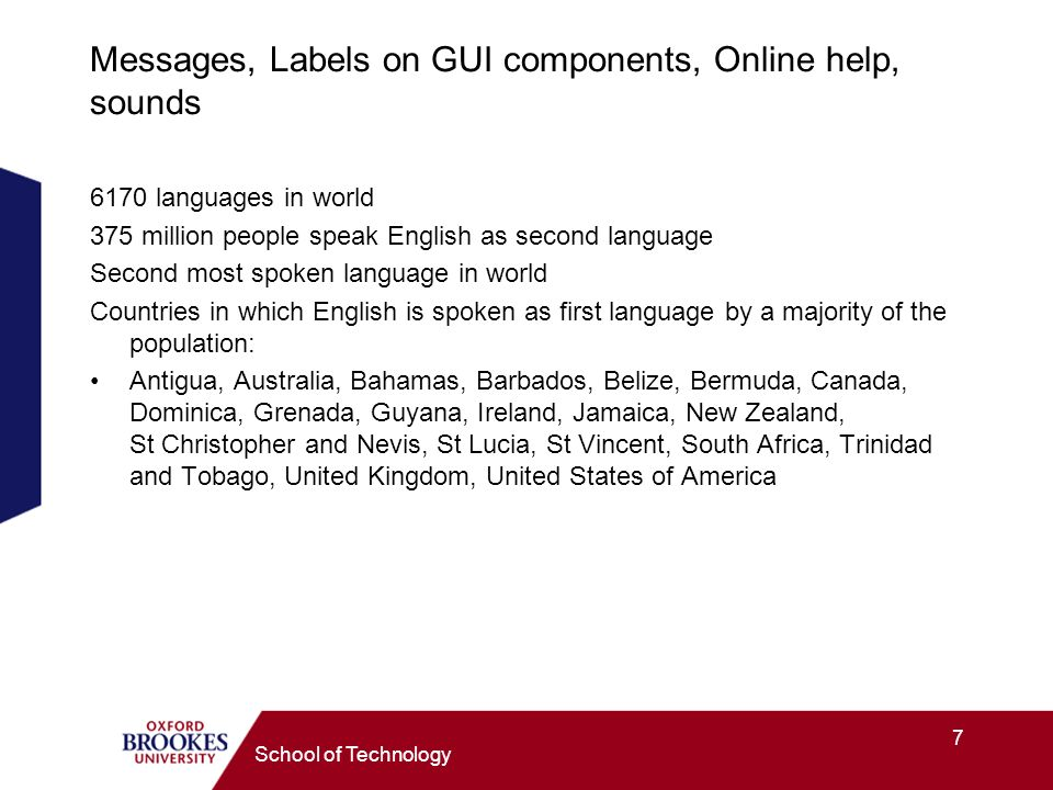 7 School of Technology Messages, Labels on GUI components, Online help, sounds 6170 languages in world 375 million people speak English as second language Second most spoken language in world Countries in which English is spoken as first language by a majority of the population: Antigua, Australia, Bahamas, Barbados, Belize, Bermuda, Canada, Dominica, Grenada, Guyana, Ireland, Jamaica, New Zealand, St Christopher and Nevis, St Lucia, St Vincent, South Africa, Trinidad and Tobago, United Kingdom, United States of America