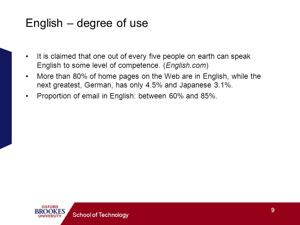 9 School of Technology English – degree of use It is claimed that one out of every five people on earth can speak English to some level of competence.