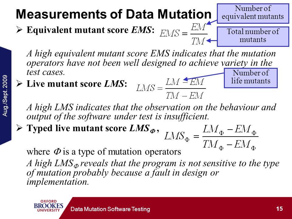 Aug./Sept. 2009 15 Data Mutation Software Testing Measurements of Data Mutation Equivalent mutant score EMS: A high equivalent mutant score EMS indica