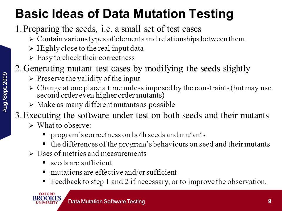 Aug./Sept. 2009 9 Data Mutation Software Testing Basic Ideas of Data Mutation Testing 1.Preparing the seeds, i.e. a small set of test cases Contain va