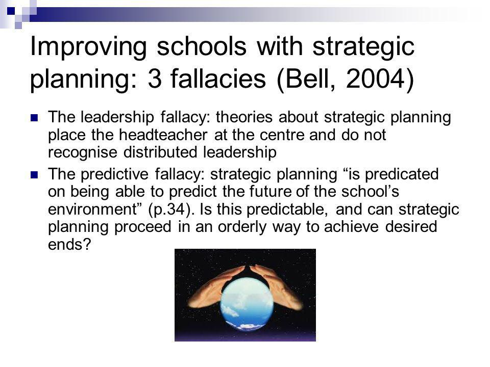 Improving schools with strategic planning: 3 fallacies (Bell, 2004) The leadership fallacy: theories about strategic planning place the headteacher at