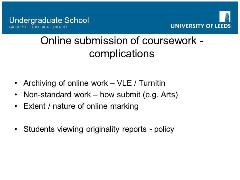 Online submission of coursework - complications Archiving of online work – VLE / Turnitin Non-standard work – how submit (e.g.