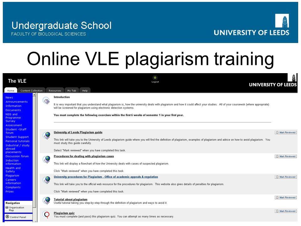 Online VLE plagiarism training