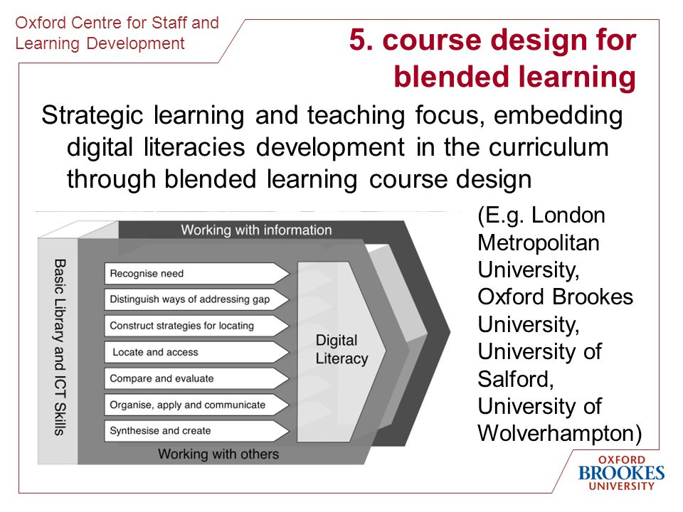 Oxford Centre for Staff and Learning Development 5.