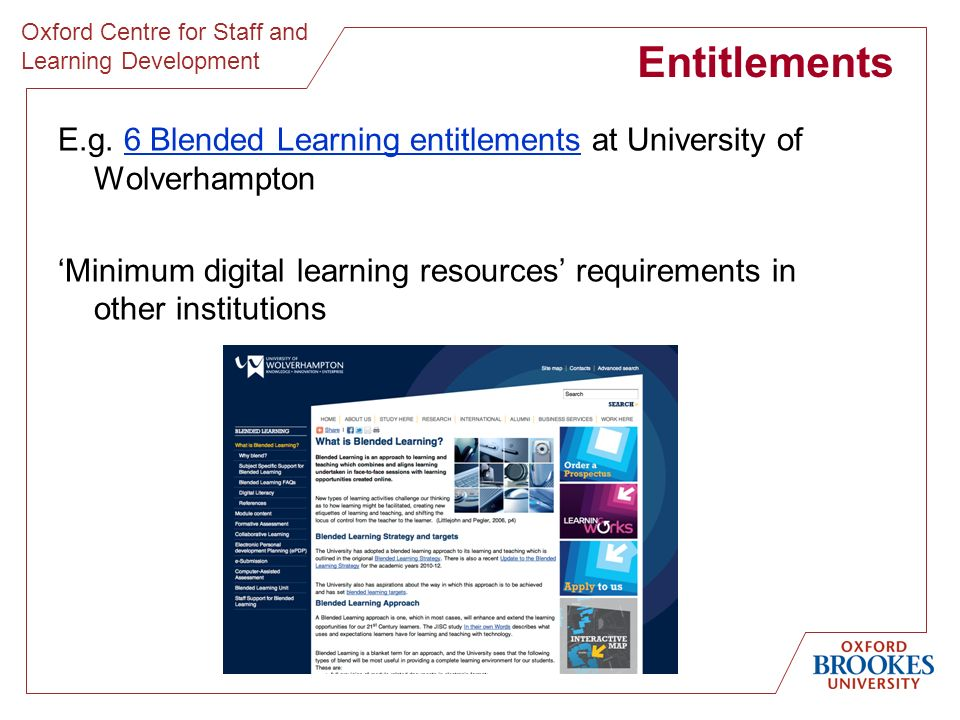 Oxford Centre for Staff and Learning Development Entitlements E.g.