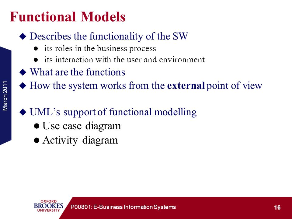 March 2011 16 P00801: E-Business Information Systems Functional Models Describes the functionality of the SW its roles in the business process its int
